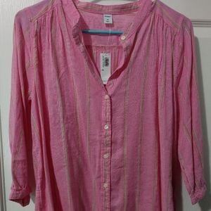 Old Navy Pink button up stripe shirt